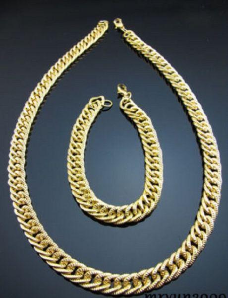 Neu Mode Armband und Halskette Gold Farben Einfach Design Schmuck Restposten