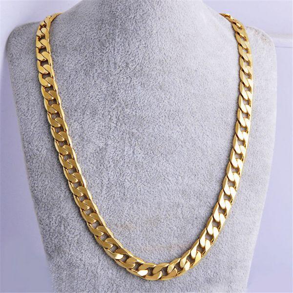 18k Goldkette Kette Edelstahl gold Halskette massiv Panzerkette Herren