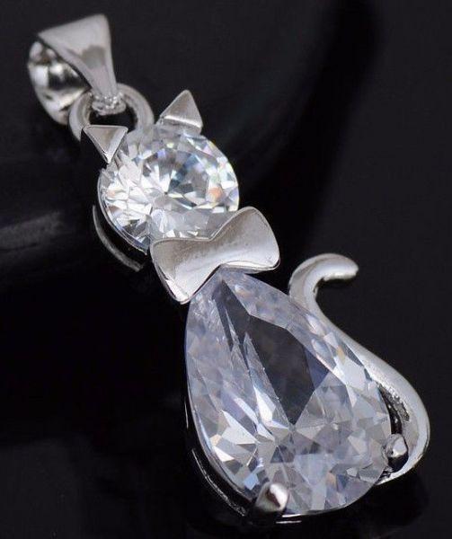 Silber 925 plattiert Schmuck Zirkonia nette Katzen Mode Frauen Halsketten Anhäng