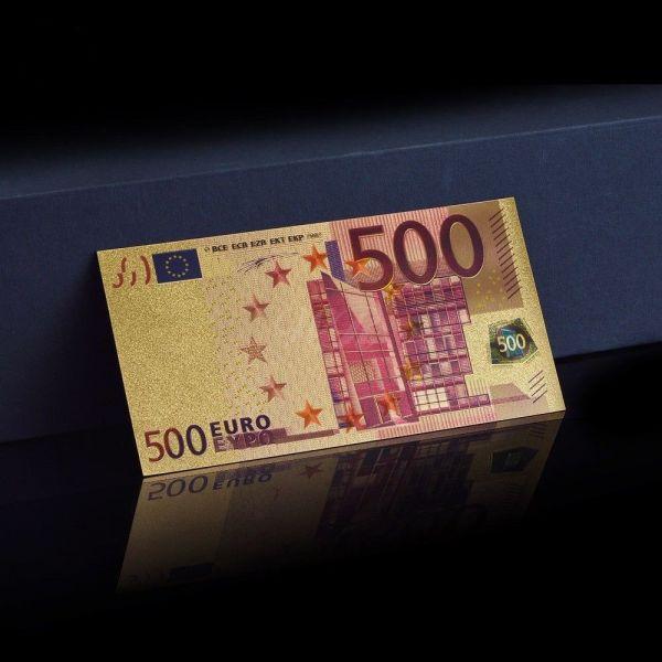 500 Euro mit Farbextrakt Gold Banknote 24 Karat 999.9 Gold Geldschein NEU