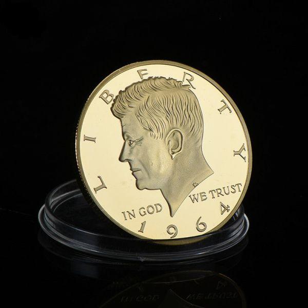 Gold Münze US-Präsident John F. Kennedy 1964 Half Dollar Gedenkmünze