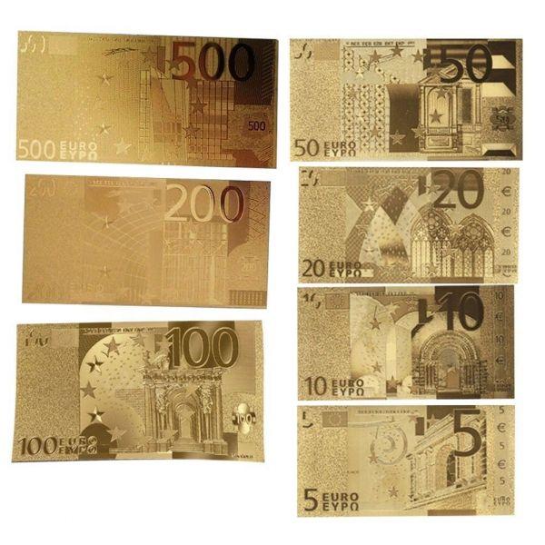1 Satz Gold Euros Banknote Kunst Geschenke 5 - 500 € Gold 24 Karat NEU