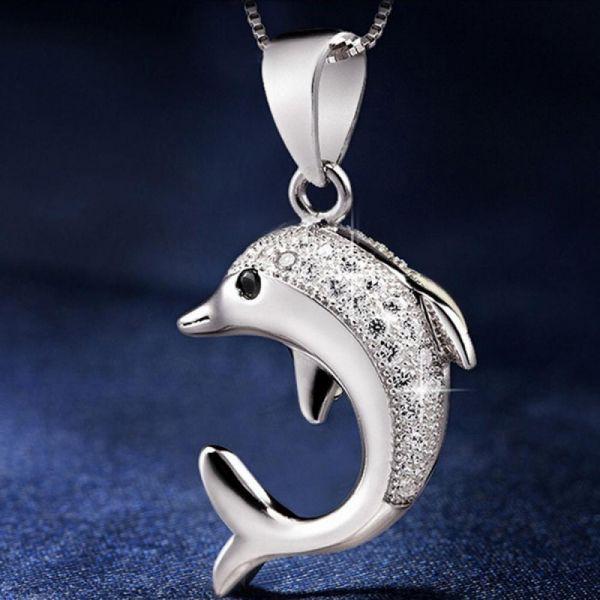 Silber 925 plattiert Schmuck süßer Delfine Mode Frauen Halsketten Anhäng
