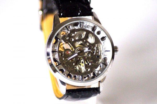 Herren Uhr Automatik Armbanduhr Analog Lederband Schwarz Restposten NEU
